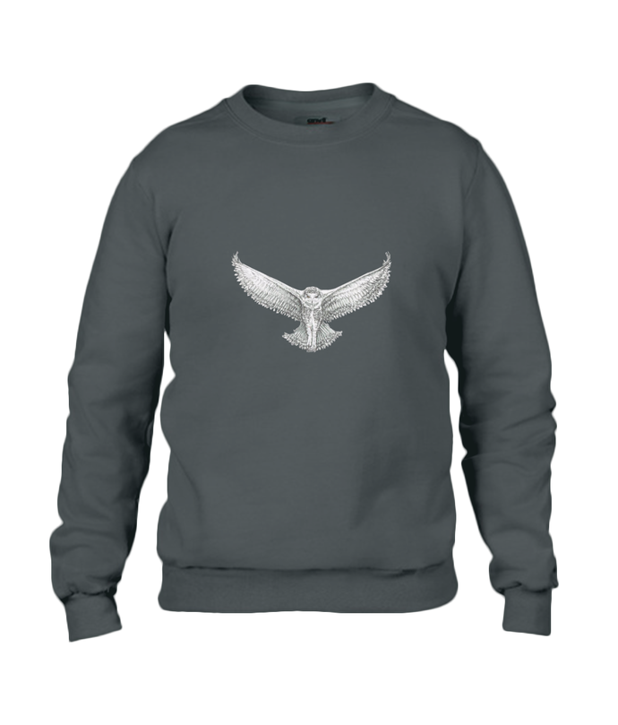 JanaRoos - T-shirts and Sweaters - Sweater - Packshot - Hand drawn illustration - Round neck - Long sleeves - Cotton - Black - snowy owl - sneeuwuil