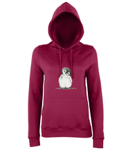 JanaRoos - women's Hoodie - Packshot - Hand drawn illustration - Round neck - Long sleeves - Cotton - red hot chilli- penguin