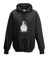 JanaRoos - Hoodies - Kids Hoodie - Packshot - Hand drawn illustration - Round neck - Long sleeves - Cotton - black - zwart - Penguin - Pinguïn