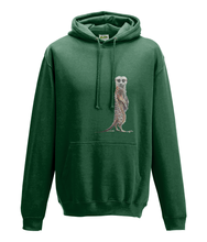 JanaRoos - Hoodie - Packshot - Hand drawn illustration - Round neck - Long sleeves - Cotton - bottle green- Meerkat - stokstaartje