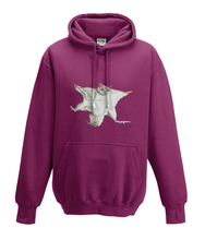 JanaRoos - Hoodies - Kids Hoodie - Packshot - Hand drawn illustration - Round neck - Long sleeves - Cotton - burgundy - paars - flying squirrel - vliegende eekhoorn