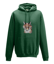 JanaRoos - Hoodie - Packshot - Hand drawn illustration - Round neck - Long sleeves - Cotton - bottle green- fox- vos