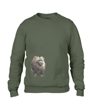 JanaRoos - T-shirts and Sweaters - Unisex Sweater - Packshot - Hand drawn illustration - Round neck - Long sleeves - Cotton - city green - kaki groen - lion tamarin monkey  - leeuwaapje