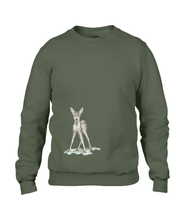 JanaRoos - T-shirts and Sweaters - Sweater - Packshot - Hand drawn illustration - Round neck - Long sleeves - Cotton - khaki green - kaki groen - Bambi - baby deer - hert