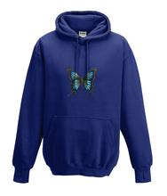 JanaRoos - Hoodies - Kids Hoodie - Packshot - Hand drawn illustration - Round neck - Long sleeves - Cotton - oxford navy blue - marine blauw -  butterfly - vlinder