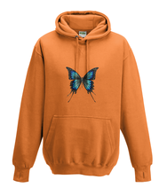 JanaRoos - Hoodies - Kids Hoodie - Packshot - Hand drawn illustration - Round neck - Long sleeves - Cotton - orange - oranje -  butterfly - vlinder