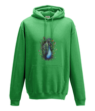JanaRoos - Hoodie - Packshot - Hand drawn illustration - Round neck - Long sleeves - Cotton - green - peacock - pauw