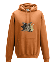 JanaRoos - Hoodie - Packshot - Hand drawn illustration - Round neck - Long sleeves - Cotton - orange - coffee owl - koffieuil