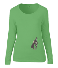 Women T-shirt -  organic cotton - long sleeved - round neck - green - groen - printdesign - drawing - JanaRoos - horse - black merrie - paard