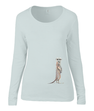 Women T-shirt -  organic cotton - long sleeved - round neck -silver grey - zilver grijs  - printdesign - drawing - JanaRoos - meerkat - stokstaartje