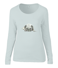 Women T-shirt -  organic cotton - long sleeved - round neck - zilver grijs - silver grey - printdesign - drawing - JanaRoos - Pugg - mops - dog - hond