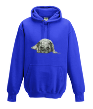 JanaRoos - Hoodies - Kids Hoodie - Packshot - Hand drawn illustration - Round neck - Long sleeves - Cotton - royal blue - royaal blauw - pugg - mops - dog - hond