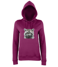 JanaRoos - women's Hoodie - Packshot - Hand drawn illustration - Round neck - Long sleeves - Cotton - Burgundy- raccoon
