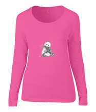 Women T-shirt -  organic cotton - long sleeved - round neck - coral pink - roos- printdesign - drawing - JanaRoos -Panda bear - beer