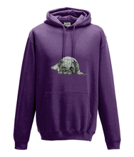 JanaRoos - Hoodie - Packshot - Hand drawn illustration - Round neck - Long sleeves - Cotton -purple -pugg- mops