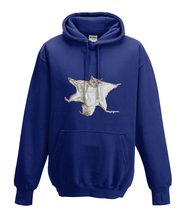 JanaRoos - Hoodies - Kids Hoodie - Packshot - Hand drawn illustration - Round neck - Long sleeves - Cotton - oxford navy blue - marine blauw - flying squirrel - vliegende eekhoorn