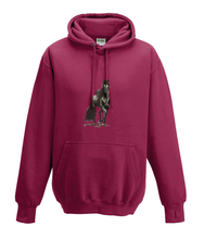 JanaRoos - Hoodies - Kids Hoodie - Packshot - Hand drawn illustration - Round neck - Long sleeves - Cotton - red hot chilli - dieprood - horse - black merrie - paard