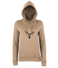 JanaRoos - women's Hoodie - Packshot - Hand drawn illustration - Round neck - Long sleeves - Cotton -Nude- Deer black ink