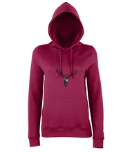 JanaRoos - women's Hoodie - Packshot - Hand drawn illustration - Round neck - Long sleeves - Cotton -Red hot chilli - Deer black ink