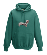 JanaRoos - Hoodies - Kids Hoodie - Packshot - Hand drawn illustration - Round neck - Long sleeves - Cotton -jade - appel blauw zeegroen - dachshund - teckel - dog - hond
