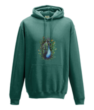 JanaRoos - Hoodie - Packshot - Hand drawn illustration - Round neck - Long sleeves - Cotton - jade - peacock - pauw