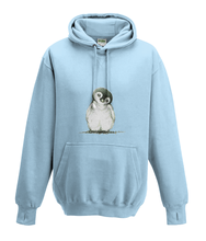 JanaRoos - Hoodies - Kids Hoodie - Packshot - Hand drawn illustration - Round neck - Long sleeves - Cotton - sky blue - hemels blauw - Penguin - Pinguïn