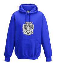 JanaRoos - Hoodies - Kids Hoodie - Packshot - Hand drawn illustration - Round neck - Long sleeves - Cotton - royal blue - royaal blauw - white tiger - witte tijger - black/white - zwart/wit