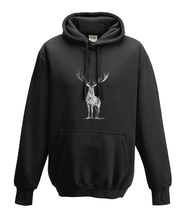 JanaRoos - Hoodies - Kids Hoodie - Packshot - Hand drawn illustration - Round neck - Long sleeves - Cotton - black - zwart - deer - reindeer - hert - rendier - black/white - zwart/wit