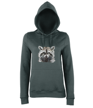 JanaRoos - women's Hoodie - Packshot - Hand drawn illustration - Round neck - Long sleeves - Cotton - charcoal grey- raccoon