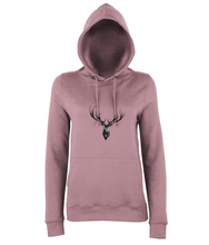 JanaRoos - women's Hoodie - Packshot - Hand drawn illustration - Round neck - Long sleeves - Cotton - dusty pink- Deer black ink