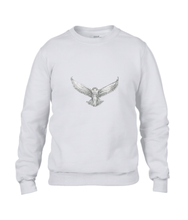 JanaRoos - T-shirts and Sweaters - Sweater - Packshot - Hand drawn illustration - Round neck - Long sleeves - Cotton -white - snowy owl - sneeuwuil