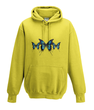JanaRoos - Hoodies - Kids Hoodie - Packshot - Hand drawn illustration - Round neck - Long sleeves - Cotton - yellow - geel -  butterflies - vlinders