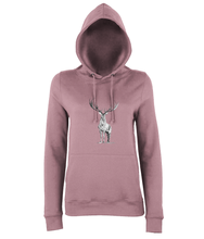 JanaRoos - women's Hoodie - Packshot - Hand drawn illustration - Round neck - Long sleeves - Cotton - dusty pink - deer- black&white