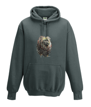 JanaRoos - Hoodies - Kids Hoodie - Packshot - Hand drawn illustration - Round neck - Long sleeves - Cotton - charcoal  grey - grijs - golden lion monkey - leeuwaapje