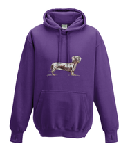 JanaRoos - Hoodies - Kids Hoodie - Packshot - Hand drawn illustration - Round neck - Long sleeves - Cotton - purple - paars - dachshund - teckel - dog - hond