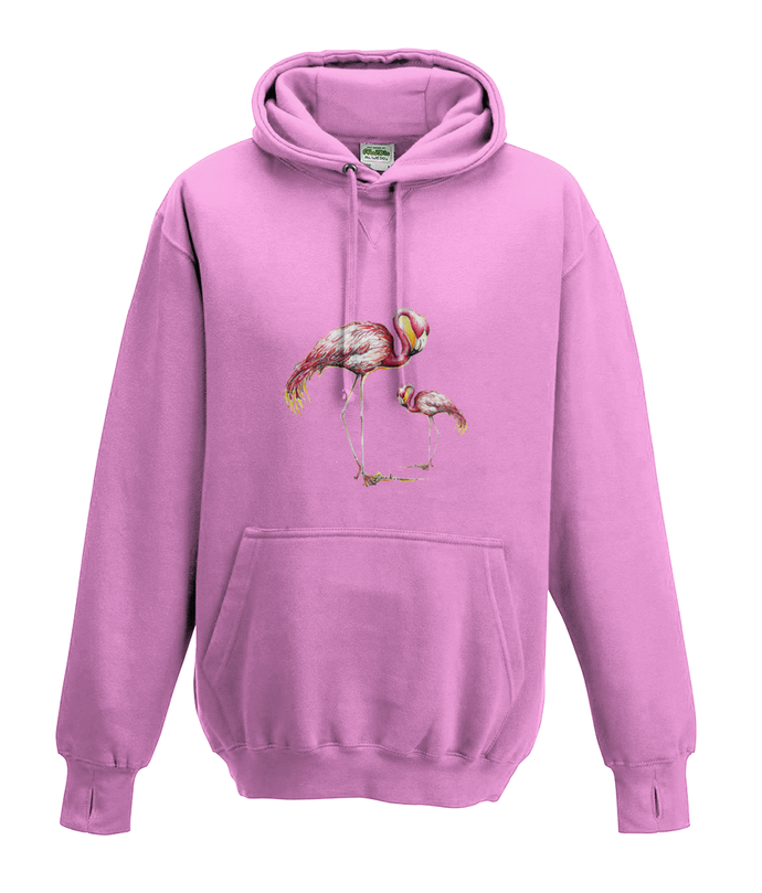 JanaRoos - Hoodies - Kids Hoodie - Packshot - Hand drawn illustration - Round neck - Long sleeves - Cotton - candy pink - snoep roos - flamingo's