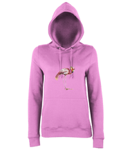 JanaRoos - women's Hoodie - Packshot - Hand drawn illustration - Round neck - Long sleeves - Cotton -candyfloss pink - flamingo