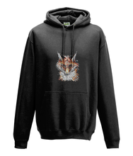 JanaRoos - Hoodie - Packshot - Hand drawn illustration - Round neck - Long sleeves - Cotton - jet black - zwart - fox- vos
