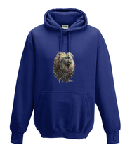 JanaRoos - Hoodies - Kids Hoodie - Packshot - Hand drawn illustration - Round neck - Long sleeves - Cotton - oxford navy blue - marine blauw - golden lion monkey - leeuwaapje