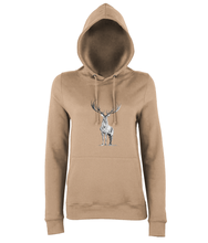 JanaRoos - women's Hoodie - Packshot - Hand drawn illustration - Round neck - Long sleeves - Cotton - nude - deer- black&white
