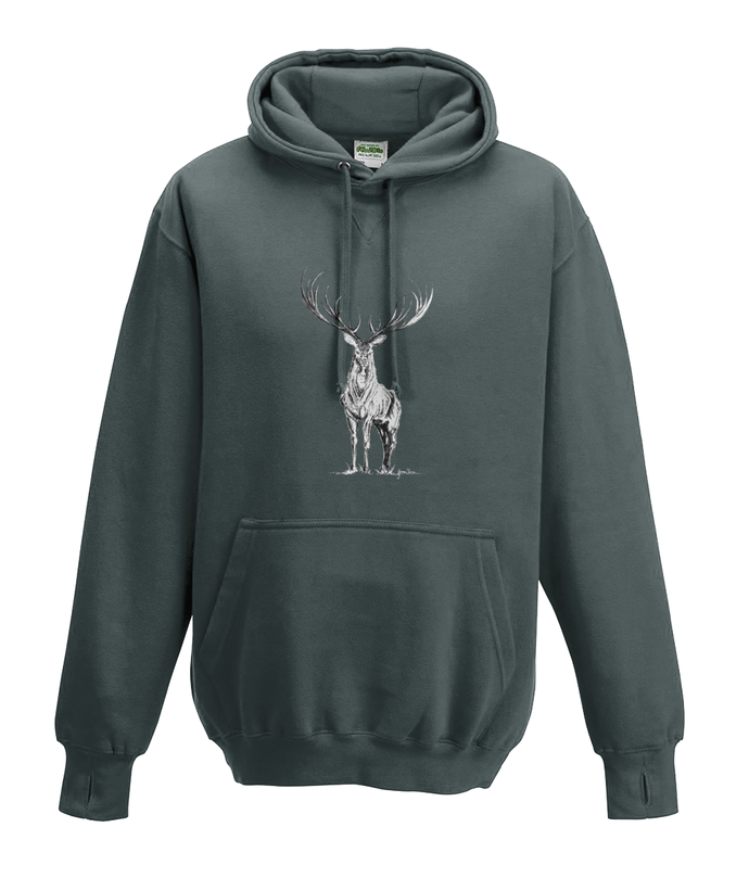 JanaRoos - Hoodies - Kids Hoodie - Packshot - Hand drawn illustration - Round neck - Long sleeves - Cotton - charcoal grey - grijs - deer - reindeer - hert - rendier - black/white - zwart/wit