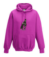 JanaRoos - Hoodies - Kids Hoodie - Packshot - Hand drawn illustration - Round neck - Long sleeves - Cotton - hot pink - roos - horse - black merrie - paard