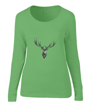 Women T-shirt -  organic cotton - long sleeved - round neck - apple green - appel groen - printdesign - drawing - JanaRoos - reindeer - deer - rendier - hert