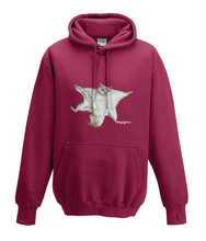 JanaRoos - Hoodies - Kids Hoodie - Packshot - Hand drawn illustration - Round neck - Long sleeves - Cotton - red hot chilli - dieprood - flying squirrel - vliegende eekhoorn