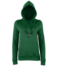 JanaRoos - women's Hoodie - Packshot - Hand drawn illustration - Round neck - Long sleeves - Cotton - bottle green - Deer black ink