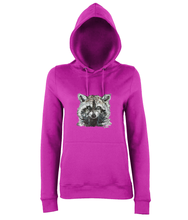 JanaRoos - women's Hoodie - Packshot - Hand drawn illustration - Round neck - Long sleeves - Cotton - Hotpink - raccoon
