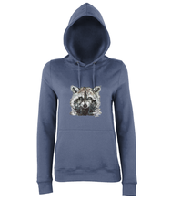 JanaRoos - women's Hoodie - Packshot - Hand drawn illustration - Round neck - Long sleeves - Cotton -airforceblue - raccoon