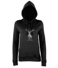 JanaRoos - women's Hoodie - Packshot - Hand drawn illustration - Round neck - Long sleeves - Cotton - black- deer colored