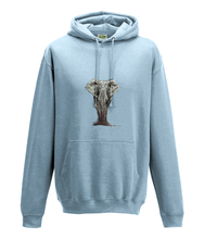 JanaRoos - Hoodie - Packshot - Hand drawn illustration - Round neck - Long sleeves - Cotton - sky blue- olifant - elephant