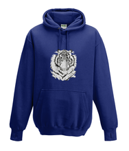 JanaRoos - Hoodies - Kids Hoodie - Packshot - Hand drawn illustration - Round neck - Long sleeves - Cotton - oxford navy blue - marine blauw - white tiger - witte tijger - black/white - zwart/wit